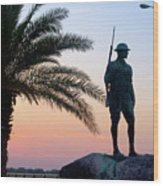 Palatka Memorial Bridge Doughboy At Sunset Wood Print by Angie Bechanan