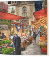 Palermo Market Place Wood Print by Juli Scalzi