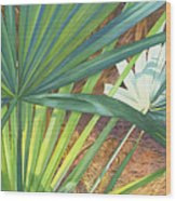 Palmettos And Stellars Blue Wood Print by Marguerite Chadwick-Juner