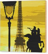Paris Tour Eiffel Yellow Wood Print by Yuriy  Shevchuk