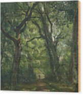 Path In The Forest Wood Print by Henri Joseph Constant Dutilleux
