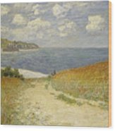 Path In The Wheat At Pourville Wood Print by Claude Monet