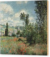 Path Through The Poppies Wood Print by Claude Monet