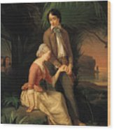 Paul And Virginie Wood Print by French School