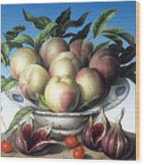 Peaches In Delft Bowl With Purple Figs Wood Print by Amelia Kleiser