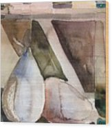 Pear Study In Watercolor Wood Print by Mindy Newman