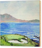 Pebble Beach Gc 7th Hole Wood Print by Scott Mulholland