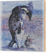 Penguin Love Wood Print by Nadine Rippelmeyer