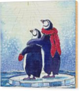 Penquins An Christmas Star Wood Print by Peggy Wilson