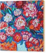Peonies Bouquet Wood Print by Ana Maria Edulescu
