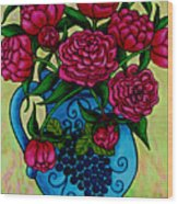 Peony Party Wood Print by Lisa  Lorenz