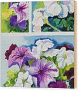 Petunias In Summer Wood Print by Janis Grau