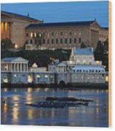 Philadelphia Art Museum And Fairmount Water Works Wood Print by Gary Whitton