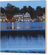 Philadelphia Boathouse Row At Twilight Wood Print by Gary Whitton