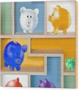 Piggy Banks Wood Print by Arline Wagner