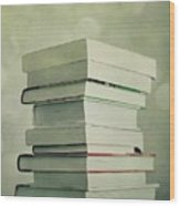 Piled Reading Matter Wood Print by Priska Wettstein