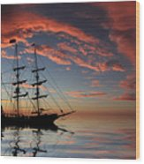 Pirate Ship At Sunset Wood Print by Shane Bechler