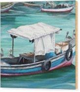 Pirogue Fishing Boat  Wood Print by Karin  Dawn Kelshall- Best