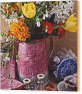 Pitcher Of Flowers Still Life Wood Print by Garry Gay