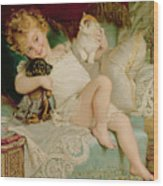 Playmates Wood Print by Emile Munier