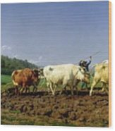 Ploughing In Nivernais Wood Print by Rosa Bonheur