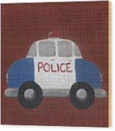 Police Car Nursery Art Wood Print by Katie Carlsruh