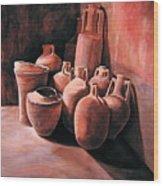 Pompeii - Jars Wood Print by Keith Gantos