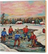 Pond Hockey Countryscene Wood Print by Carole Spandau