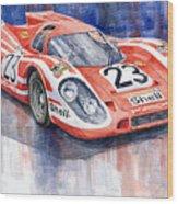 Porsche 917k Winning Le Mans 1970 Wood Print by Yuriy  Shevchuk