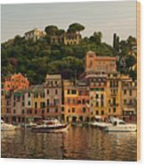 Portofino Bay Wood Print by Neil Buchan-Grant