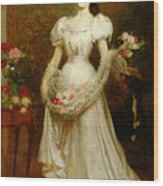 Portrait Of A Woman And Her Greyhound Wood Print by English School