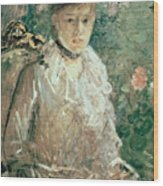 Portrait Of A Young Lady Wood Print by Berthe Morisot