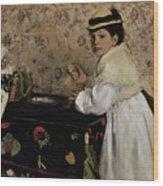 Portrait Of Hortense Valpincon As A Child Wood Print by Edgar Degas