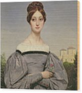 Portrait Of Louise Vernet Wood Print by Emile Jean Horace Vernet