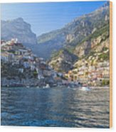 Positano Harbor View Wood Print by George Oze