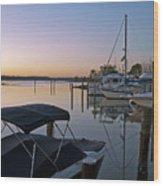 Potomac River At Sunrise Belle Haven Marina Alexandria Virginia Wood Print by Brendan Reals