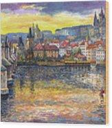 Prague Charles Bridge And Prague Castle With The Vltava River 1 Wood Print by Yuriy  Shevchuk
