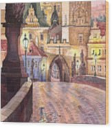 Prague Charles Bridge Night Light 1 Wood Print by Yuriy  Shevchuk