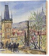 Prague Charles Bridge Spring Wood Print by Yuriy  Shevchuk