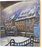 Prague Chertovka Winter 01 Wood Print by Yuriy  Shevchuk