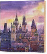 Prague City Of Hundres Spiers Variant Wood Print by Yuriy  Shevchuk