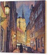Prague Husova Street Wood Print by Yuriy  Shevchuk