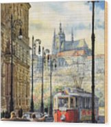 Prague Kaprova Street Wood Print by Yuriy  Shevchuk