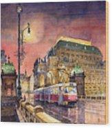 Prague  Night Tram National Theatre Wood Print by Yuriy  Shevchuk