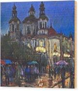 Prague Old Town Square St Nikolas Ch Wood Print by Yuriy  Shevchuk