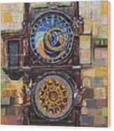 Prague The Horologue At Oldtownhall Wood Print by Yuriy  Shevchuk