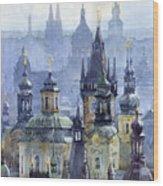 Prague Towers Wood Print by Yuriy  Shevchuk