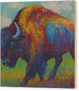 Prairie Muse - Bison Wood Print by Marion Rose