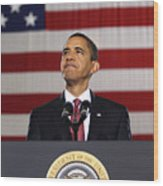 President Obama Wood Print by War Is Hell Store