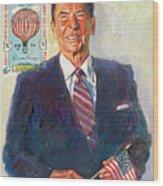 President Reagan Balloon Stamp Wood Print by David Lloyd Glover